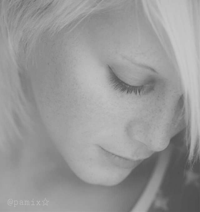 #FreeToEdit  by  @freetoedit account #monochrome  #cute #emotions #photography #people #blackandwhite #blonde  #closeup