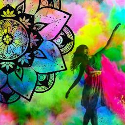 indianart holi colorful mandala celebration