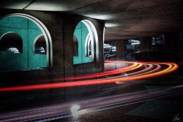 longexposure lights parking beton architecture