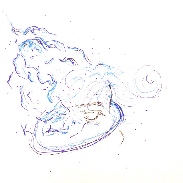 An old sketch is an old friend #art #scribbles #blue #space #FreeToEdit