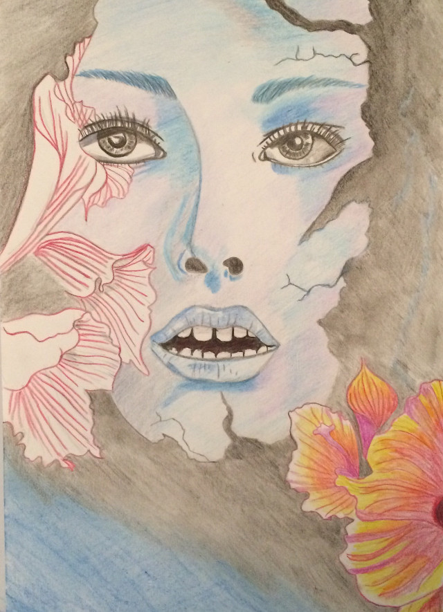 #colorful #woman #flowers #emotions #pencilart #paper #notmybest #FreeToEdit  #photography