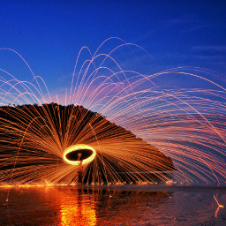 steelwool fire beach colorful colorsplash freetoedit