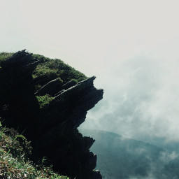 nature fog rock mountain sky