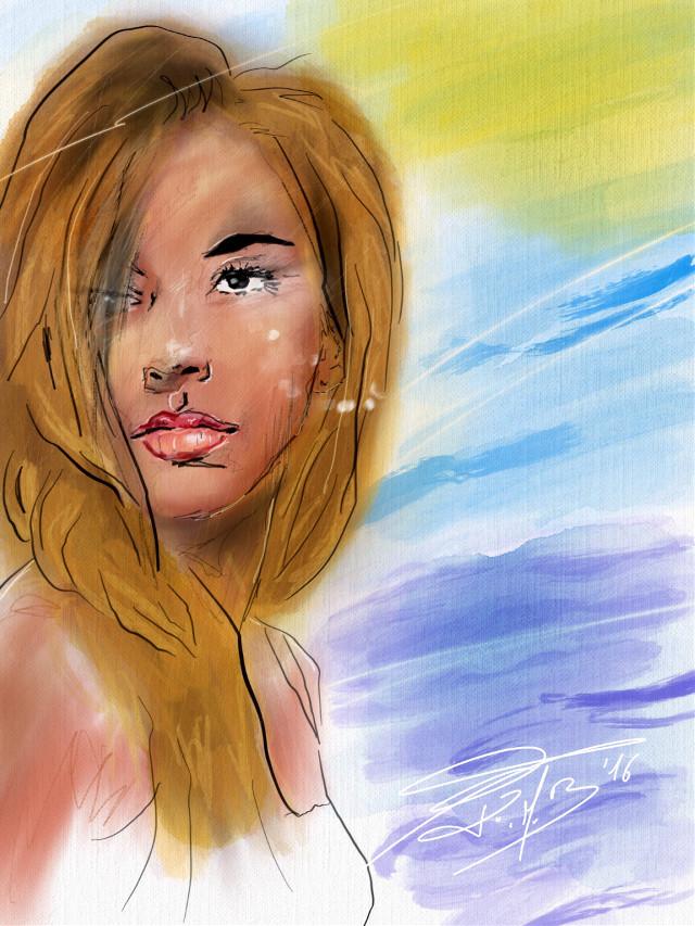 #FreeToEdit #drawing #painting #mixedmedia #portrait #girl #model #summer #emotions