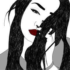 girl sketch digitalart pencilart blackandwhite freetoedit