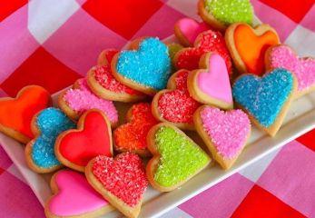 colorful cookies hearts rainbow yummy