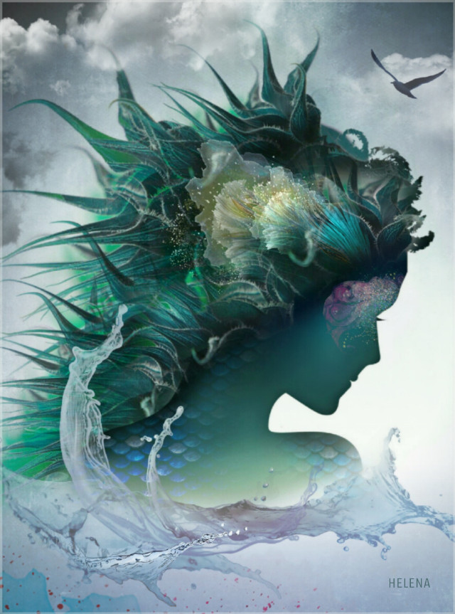 Water nymph. Pics from #FreeToEdit used. #fantasy #mermaid #clipart #silhouette #profile #edited #editedbyme #illustration #water