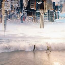 city beach upsidedown surreal surrealism edited