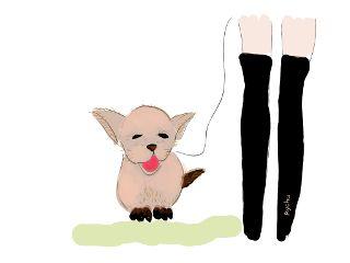 freetoedit drawing girl puppy dog