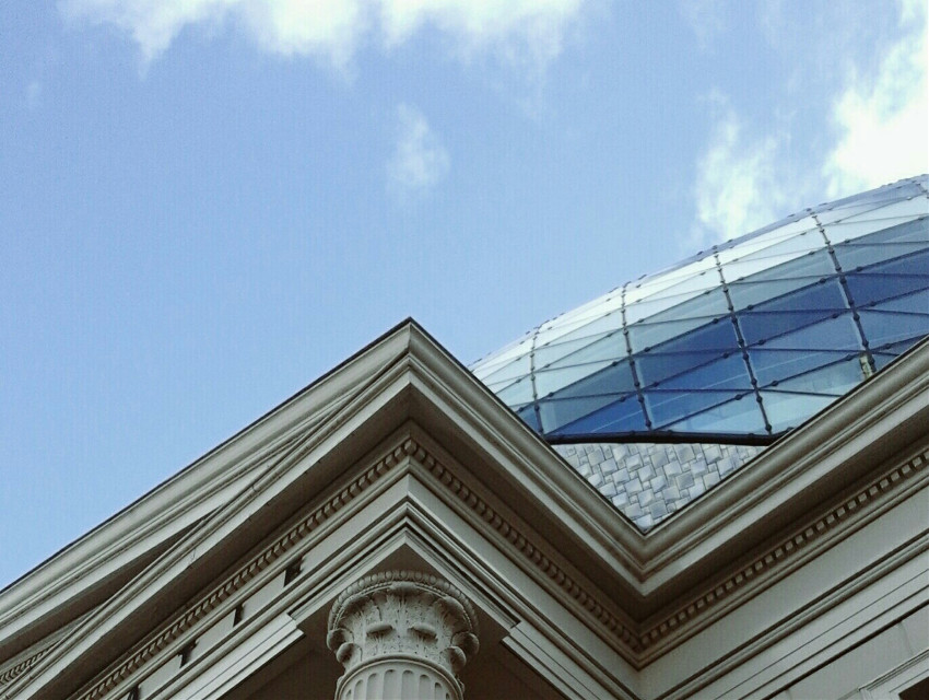 When two ways of architecture meet.   #architecture  #photography  #colorful  #sky  #lookup